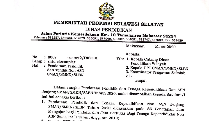 Download Permintaan Data Guru Non-ASN Disdik Sulsel 2020